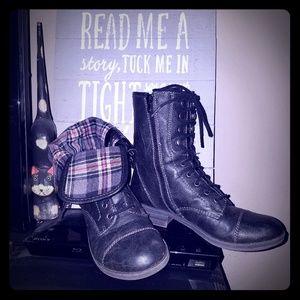 American Rag black plaid combat boots